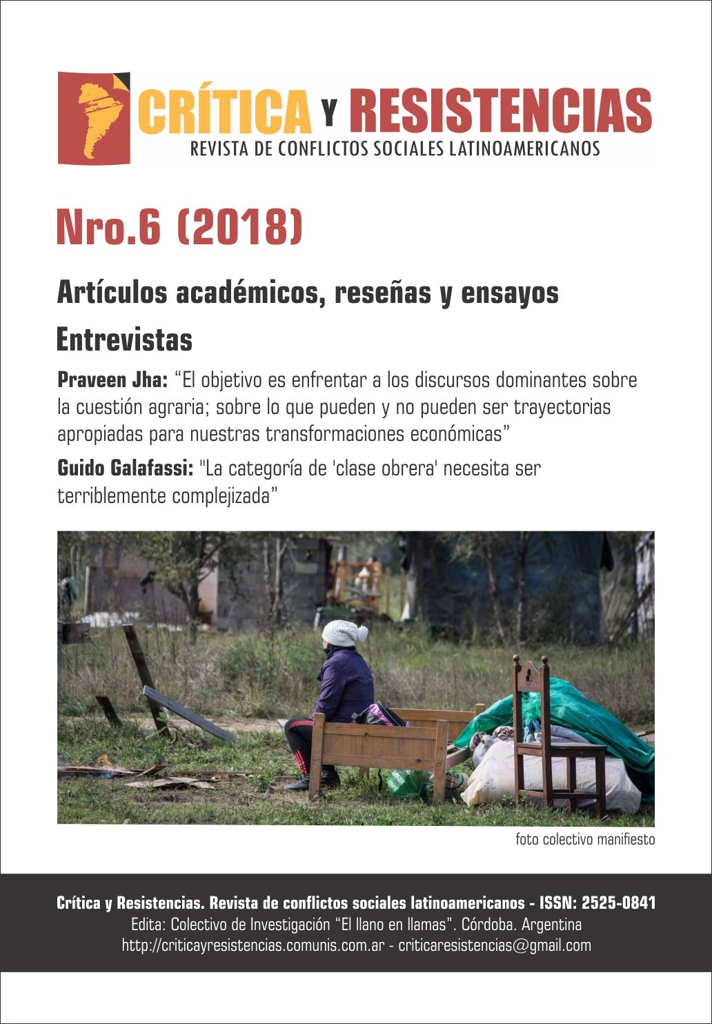 Portada de Revista Crítica y Resistencias Nº 6 (2018)