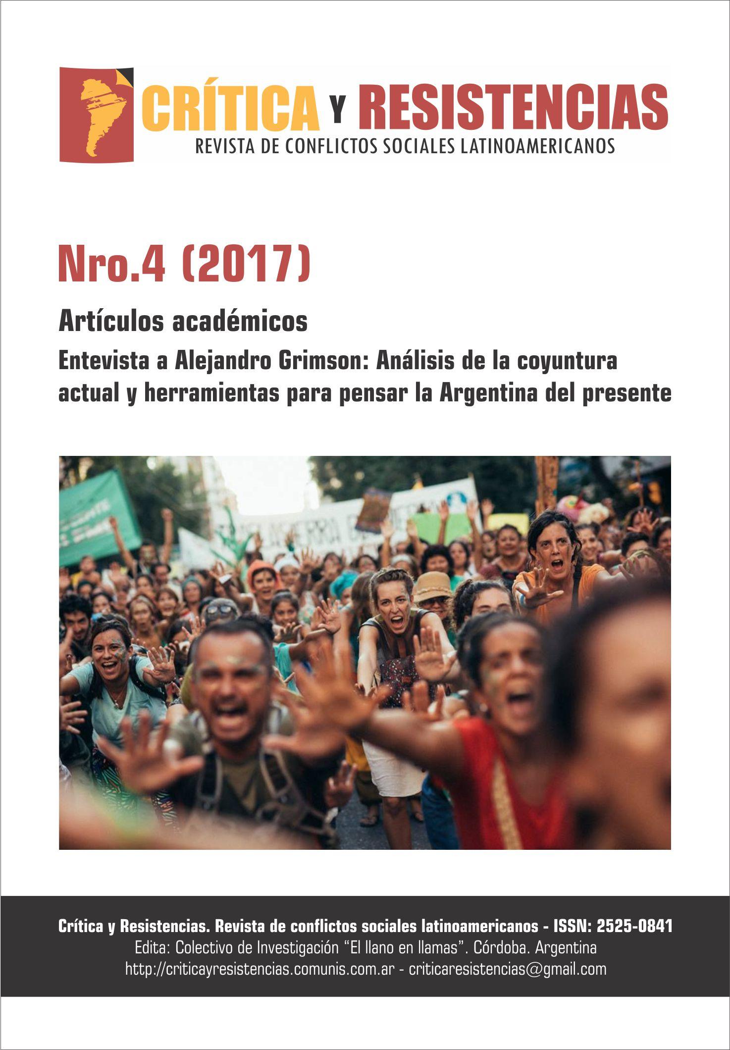 Portada de Revista Crítica y Resistencias Nº 4 (2017)