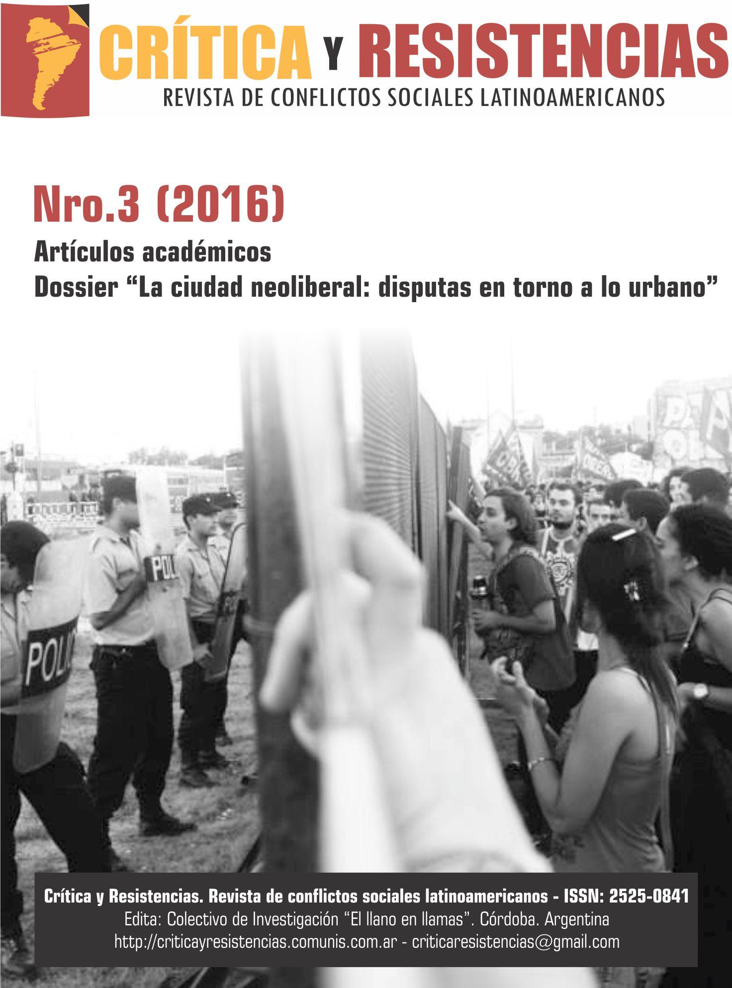 Portada de Revista Crítica y Resistencias Nº 3 (2016)