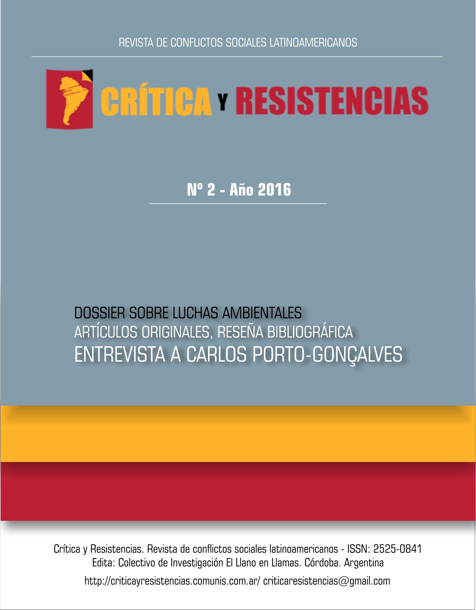 Portada de Revista Crítica y Resistencias Nº 2 (2016)